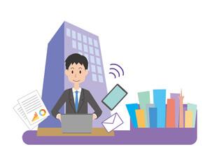 会社でPCを使って仕事をする男性