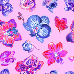 Seamless orchid pattern in purple colors on a pink background, watercolor illustration, print for fabric and other designs.