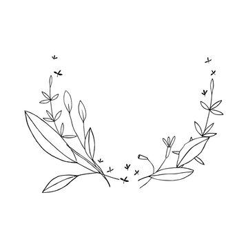 Vector botanical illustration, simple contour design template. Floral wreath line art for retro sketch greeting card. Summer banner in vintage style