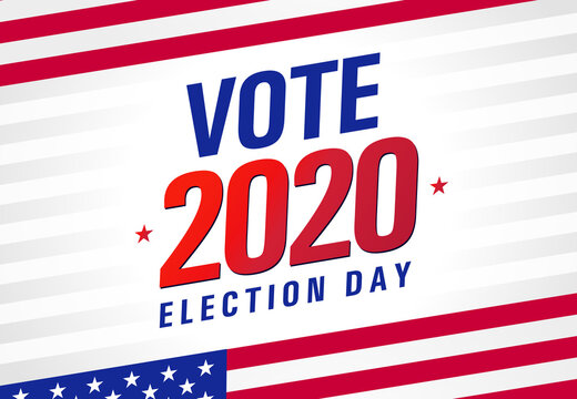 Vote 2020 in USA, light stripes banner design. American patriotic background election day. Usa debate of president voting. Election voting poster or flyer vector template