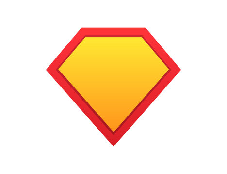 Superhero shield. Comic superman symbol. Guard icon in yellow and red gradient colors. Protection emblem. Super hero template with blank space. Cartoon banner of super power. Vector EPS 10.
