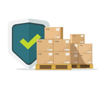 Shipping insurance for freight cargo delivery and parcel package transportation protection coverage guaranty care vector flat illustration, concept of logistics courier service guard shield