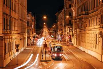 Cars On City Street At Night