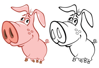 Stores à enrouleur Chambre bébé Vector Illustration of a Cute Cartoon Character Pig for you Design and Computer Game. Coloring Book Outline Set