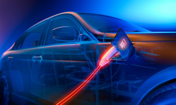 E-mobility, blue electric car charging battery - 3d illustration