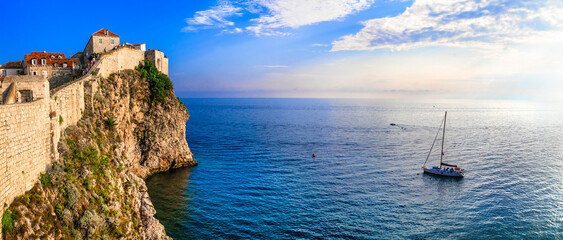 Croatia travel. ancient Dubrovnik town. Popular tourist and cruise destination. view of fortified wall and castle