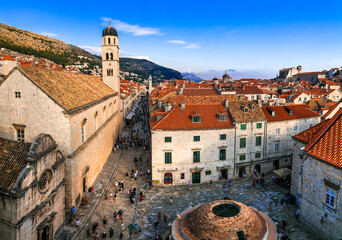 Croatia travel. Dubrovnik. view from city wall in historic old town center.