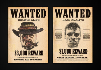 Wanted Poster Mockup with Sketch Effect