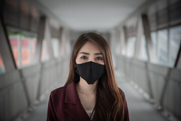 Asian woman wear face mask for protect COVID-19 virus,Thailand people,Young lady shortness of...