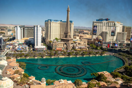 High Angle View Of Bellagio Fountain