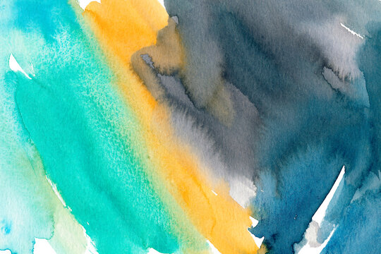 Turquoise, orange and blue hand drawn watercolour painting. Modern indigo blending raster illustration. Multicolor ink background. Watercolor paint blobs and smudges effect wallpaper.