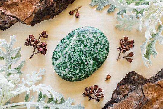 Moss Agate Palm Stone with Dusty Miller and Natural Elements