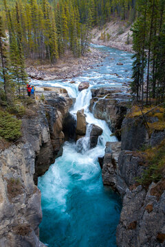 Jasper, Alberta, Canada - 10/15/2007:  athabasca falls, adjacent to the Icefields Parkway in Alberta, Canada