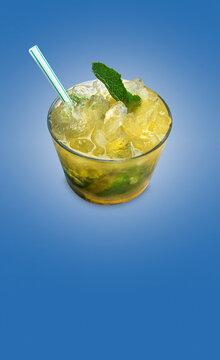 Mango mojito cocktail on blue background