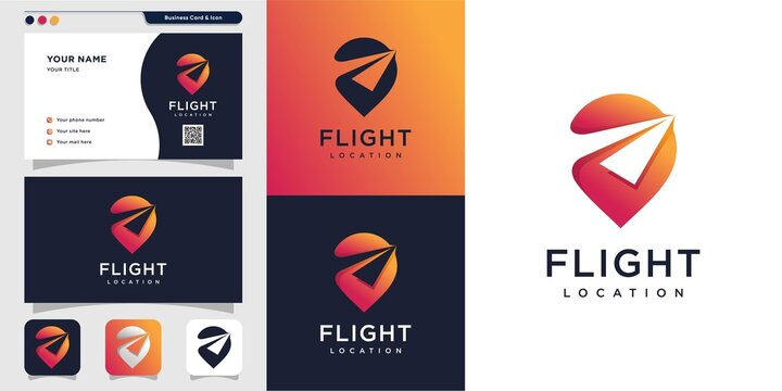 Flight location logo and business card design. pin, map, location, flight, plane, icon Premium Vector