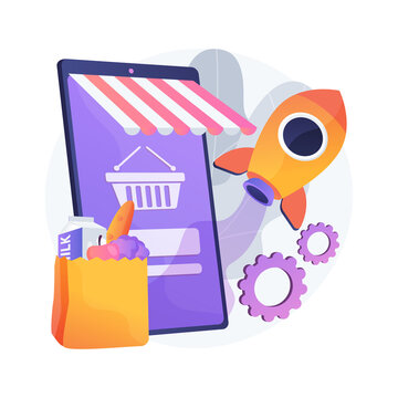 Start and launch your online store abstract concept vector illustration. Small business amid pandemic, grocery and essentials curbside pickup, accept orders and payment abstract metaphor.