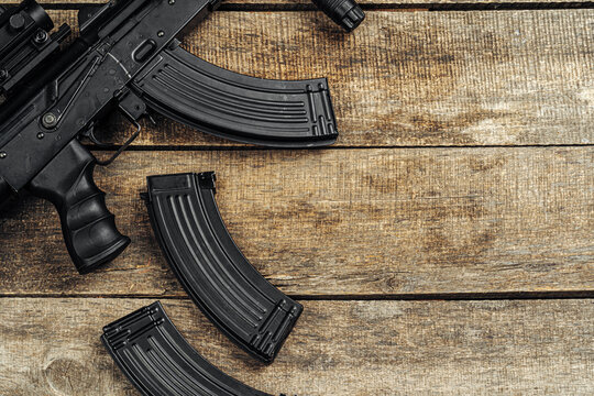 Russian automatic rifle Ak-47 close up, military weapon