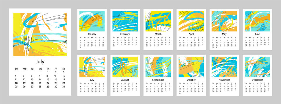 2021 Calendar design set of 12 months. 2021 Week starts on Sunday.  Vertical Template A4 or A3 format. Business planner. Stationery design.  Abstract artistic free style vector illustration.