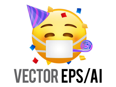 Yellow kissing red cheek face emoji icon, party hat and mask