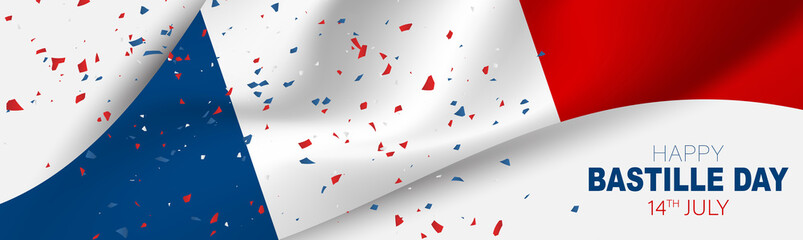 Bastille Day banner or header. July 14th France national holiday celebration. Blue, white, and red tricolor waving french flag. Vector illustration with lettering.