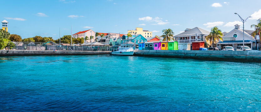 Panoramic view of port of Nassau, Bahamas.
