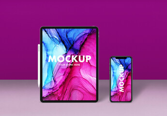 Smartphone and Tablet Mockup with Digital Pen