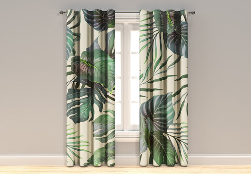 Vintage Window and Curtains Mockup