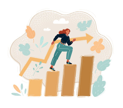 Vector illustration of successful businesswoman walking up a staircase. Woman step level by level.