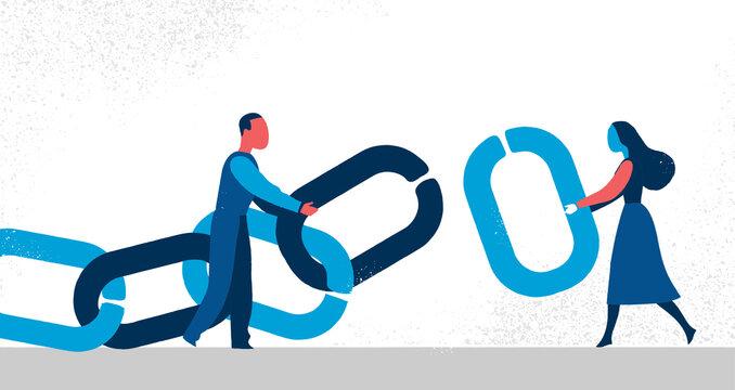 Un uomo e una donna tengono una catena con l'anello mancante