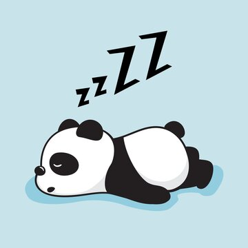 Lazy Panda Cartoon Cute Sleeping Animals Illustration