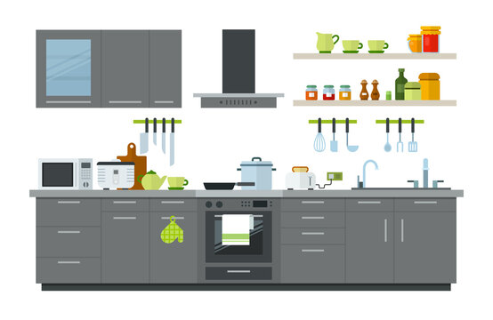 Illustration of a kitchen interior with furniture, appliances and utensils vector illustration