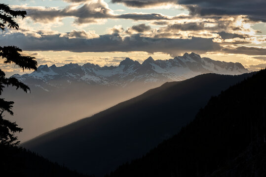 Sunset on British Columbia costal mountains.