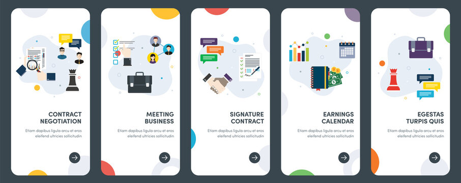 Set of concept flat design icons for contract, signature, meeting, earnings, report. UX, UI vector template kit for web design, applications, mobile interface, infographics and print design.