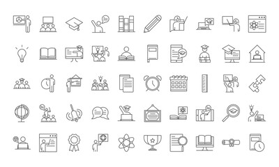 teach school education learn knowledge and training icons set line style icon