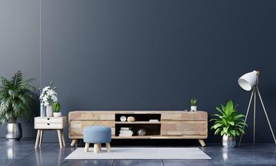 Obraz Tv cabinet in modern empty room on dark wall,minimal designs. - fototapety do salonu