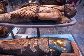 London, United Kingdom - May 12 2018: Acient Egypt Gallery at British Museum - a public institution dedicated to human history, art and culture it's one of the largest and most comprehensive museums