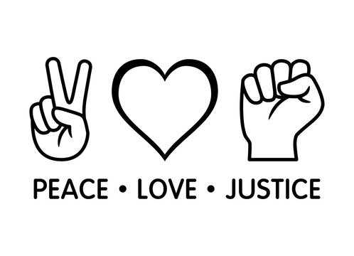 Peace Love Justice line art vector icon design for apps and print