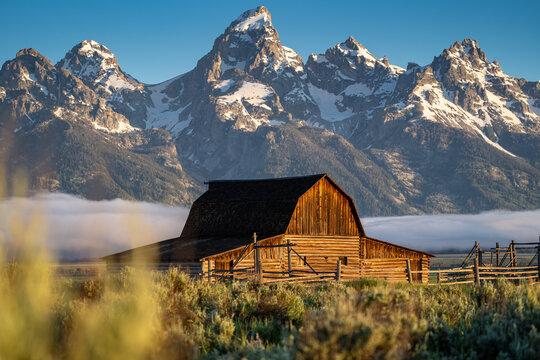 The John Moulton Barn at sunrise in Grand Teton National Park Wyoming at Morman Row