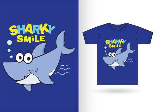 Cute shark cartoon for t shirt