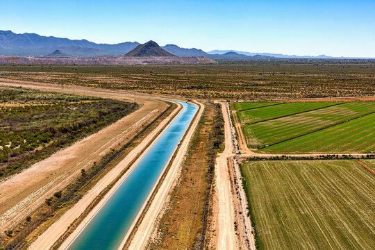 Irrigation canal and agriculture in Avra Valley