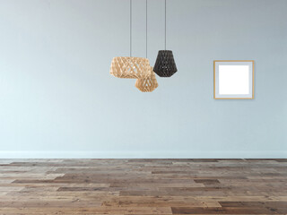 empty house interior design and lamp. 3D illustration