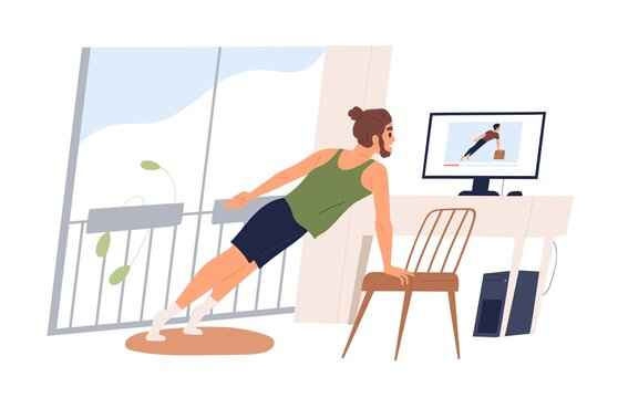 Active male doing sport exercise watch online classes on computer vector flat illustration. Man practicing workout at home isolated on white. Guy training on internet fitness course look at screen