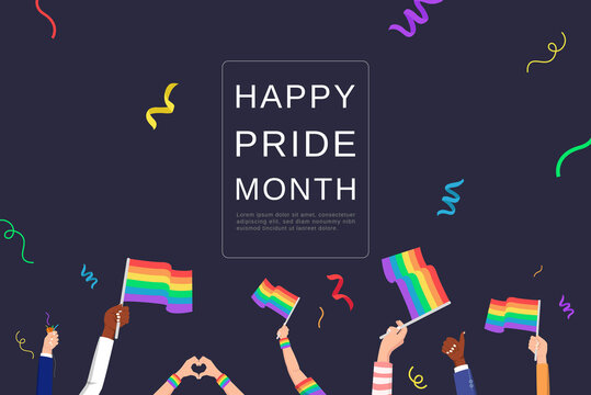 LGBTQ background with people hands waving rainbow flags celebrating pride month