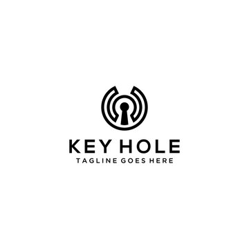 Creative modern key hole logo design