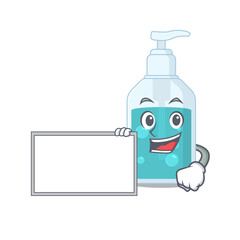 Wall Mural - Cartoon character design of hand sanitizer holding a board
