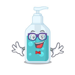 Wall Mural - A cartoon drawing of geek hand sanitizer wearing weird glasses