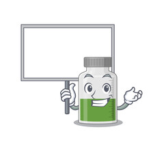Wall Mural - Cartoon picture of vitamin syrup mascot design style carries a board