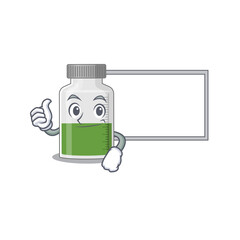 Wall Mural - vitamin syrup cartoon design with Thumbs up finger bring a white board