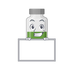 Wall Mural - vitamin syrup cartoon design style standing behind a board