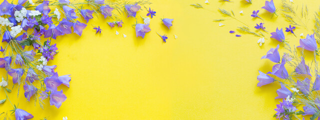 blue wild flowers on yellow background - fototapety na wymiar